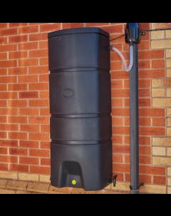 160L Terracottage Wallmounted Water Butt & BLACK Gutter Mate Diverter Bundle