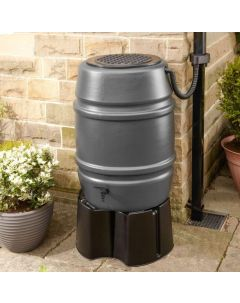 Grey 168L Water Butt Barrel With Stand and Diverter