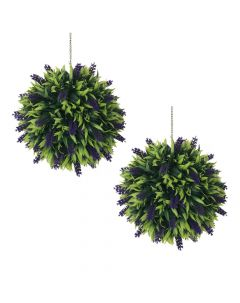 Artificial Topiary Lavender Ball 30cm - Set of 2