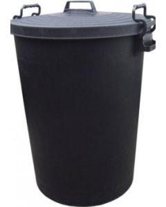 110L Heavy Duty Black Plastic Refuse / Garden Bin with Locking Lid