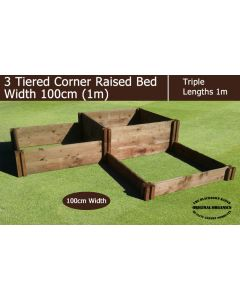 1m Wide 3 Tiered Corner Raised Bed - Blackdown Range