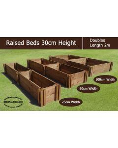 30cm High Double Raised Beds - Blackdown Range - 25cm Wide
