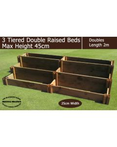 45cm High 3 Tiered Double Raised Beds - Blackdown Range - 50cm Wide