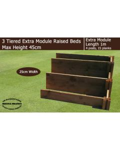45cm High 3 Tiered Raised Beds Extra Module - Blackdown Range - 25cm Wide