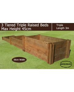 45cm High 3 Tiered Triple Raised Beds - Blackdown Range - 50cm Wide