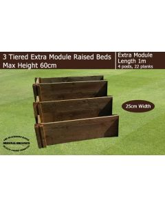 60cm High 3 Tiered Raised Beds Extra Module - Blackdown Range - 50cm Wide