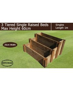 60cm High 3 Tiered Single Raised Beds - Blackdown Range - 100cm Wide