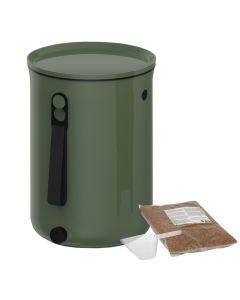Bokashi Organko 2 Compost Bin (9.6L) Olive Green with 2kg Bokashi Bran