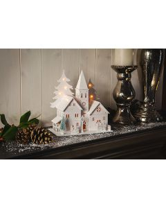 22cm White Wooden Church - With LED Lights