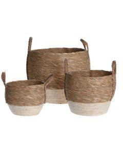 Natural White Baskets - Set of 3