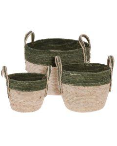 Round Straw Basket - Set of 3