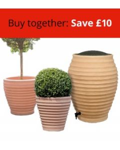 Moroccan Beehive Water Butt and Two Moroccan Planters (Small and Medium)