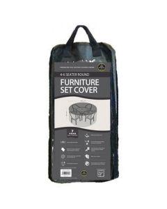 4-6 Seater Round Furniture Set Cover Black