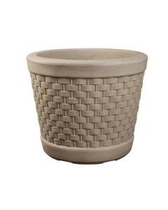 Wicker Style Planter 43cm - Stone Effect